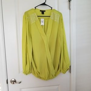 Ashley Stewart Lime Green Blouse Sliver Diamonds